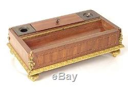 Encrier bois de rose marqueterie bronze doré Napoléon III inkwell XIXème