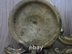 Encrier bronze avec 2 potiquets en porcelaine napoléon III