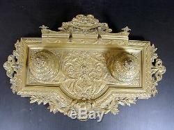 Encrier double Bronze XIX° Barbedienne Têtes Beliers Louis XVI Fonte Ancienne