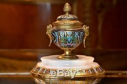 Encrier en Bronze et Emaux Cloisonnés Napoléon III