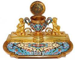 Encrier en bronze doré et cloisonné Napoléon III