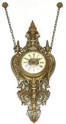 Énorme CARTEL Mural Ancien en Bronze Napoléon III XIXème Horloge Pendule clock
