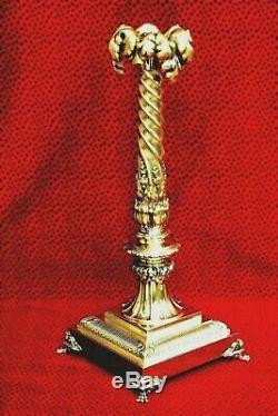 Exceptionnelle et magnifique très grande lampe à pétrole 19 ème en Bronze