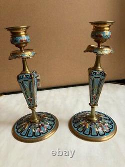 Exceptionnelle paire de bougeoirs bronze émaux cloisonnés époque Napoléon III