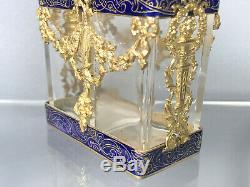 Flacons De Parfum Avec Support Epoque Napoleon III En Bronze Doré Et Emaillé