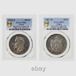 France 5 Francs Napoléon III Paire d'Essais Unifaces PCGS SP62 et SP63