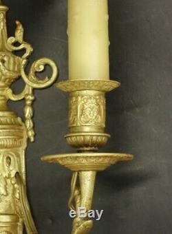 GRANDE PAIRE D'APPLIQUES, ÉPOQUE NAPOLÉON III (XIXe) BRONZE 34,4 cm