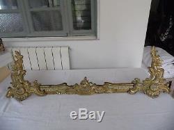 Garniture Cheminee Chenet Barre Bronze Rocaille Napoleon Iii/5