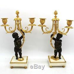 Garniture Horloge Pendule et Paire Candelabres Napoleon III en Bronze du 19ème