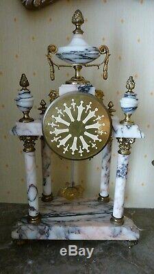 Garniture cheminée Chevalier et 2 candélabres style Louis XVI en bronze&marbre