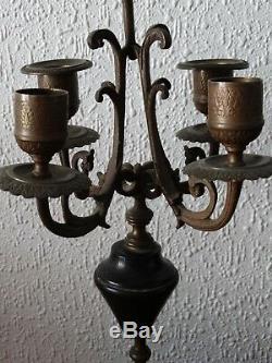 Garniture cheminée EMPIRE NAPOLEON III 1 PENDULE + 2 CHANDELIERS marbre & bronze
