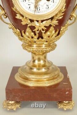 Garniture de cheminée style Louis XVI Napoléon III bronze doré marbre rouge