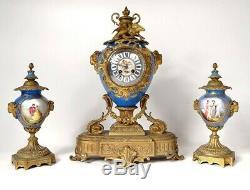 Garniture pendule bronze doré porcelaine Sèvres béliers Napoléon III XIXème