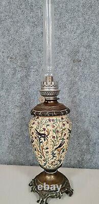 Gien Belle lampe à pétrole Napoléon III en faïence et bronze patiné vers 1880