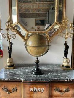 Globe Terrestre En Bois, Papier Et Bronze De La Maison Delamarche (1848-1876)