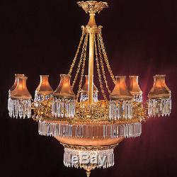 Grand Lustre Empire En Cristal Et Bronze Napoleon III Lampe Hotel