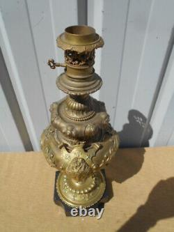 Grand Pied De Lampe A Huile Epoque Napoleon 3 En Bronze