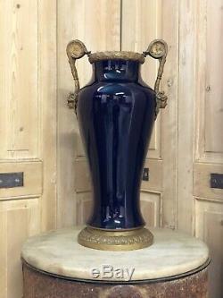 Grand Vase Bleue de Sèvres Bronze Doré Napoléon III XIXeme Bleu Blue Porcelaine