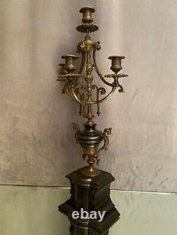 Grand chandelier candélabre à 3 branches bronze marbre XIXe Napoléon III 61cm