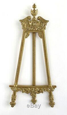 Grand chevalet de tableau en bronze doré, porte toile vintage style Nap III