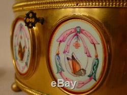 Grand coffret bijoux bronze laiton doré médaillons email Napoléon III XIXéme