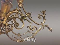 Grand lustre de château Napoléon III bronze doré