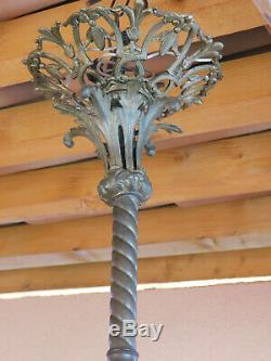 Grand lustre en bronze style Napoléon III Empire 6 feux