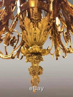 Grand lustre style Louis XVI Napoléon III bronze doré
