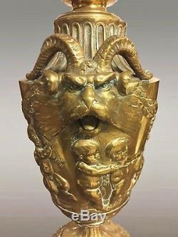Grand pied de lampe bronze doré Napoléon III style Barbedienne