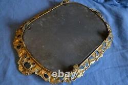 Grand plateau miroir centre surtout de table bronze laiton miroir