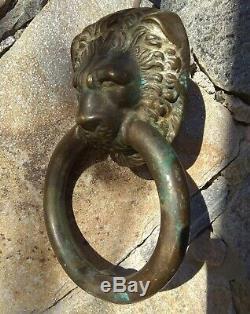 Grande Heurtoir de porte en bronze, Tete de Lion, door knocker, XIXeme, 20cm, 1,17kg