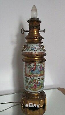 Grande LAMPE à HUILE / pétrole PORCELAINE BRONZE CHINE CANTON XIXe Napoléon III