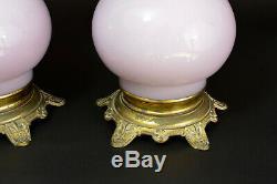 Grande Lampe Pétrole Opaline Rose Parme Globe Petrol Lamp Napoleon III Rare x 2