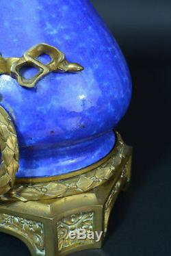 Grande Lampe Signée SEVRES Porcelaine Bleue LOUIS XVI Bronze Napoleon III Rare