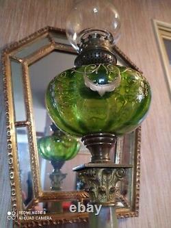 Grande Lampe à Pétrole en Bronze et Verre émaillé fût en onyx à pans XIXème