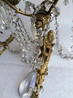 Grande Paire D Appliques En Bronze Et Cristal De Baccarat D Epoque Napoléon III