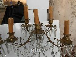Grande Paire D' Appliques Niii En Bronze Dore Et Cristal Cinq Lumieres