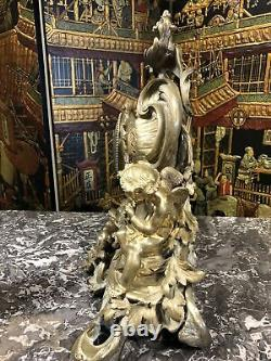 Grande Pendule En Bronze Doré Napoleon 3 Au Angelots