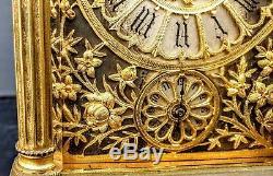 Grande Pendulette De Voyage A Sonnerie Anglaise Bronze Dore Carriage Clock 21cm