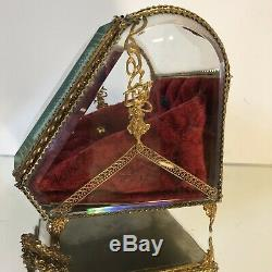 Grande Vitrine Napoléon III Laiton Bronze Verre Bombée Coffret a Bijoux Boîte