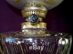 Grande lampe à pétrole N III chimére dragon bronze cristal baccarat marbre XIXém