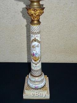 Grande lampe à pétrole à colonne en porcelaine et bronze dépoque Napoléon III