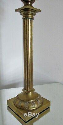 Grande lampe à pétrole colonne réservoir cristal baccarat bronze Matador XIXe
