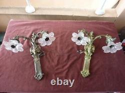 Grande paire appliques bronze, cristal, lion, monstre marin, 19ème, H 50cm, P 3,5kg