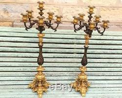 Grande paire de candélabres ancien en bronze d époque napoleon III