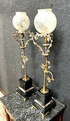 Grande paire de lampes époque Napoléon III en bronze doré et marbre noir