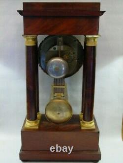 Grande pendule style Empire Napoléon III acajou bronze doré régulateur XIXéme