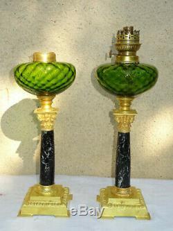 Grandes lampes à pétrole en marbre et bronze de Style Empire XIXème, oil lamp