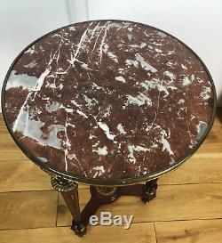 Guéridon Ancien D'époque Napoléon III En Bois Orné De Bronze Avec Dessus Marbre