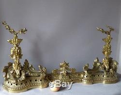 H 53 Cm! Importante Devanture De Cheminée, Chenets Napoléon III En Bronze Doré